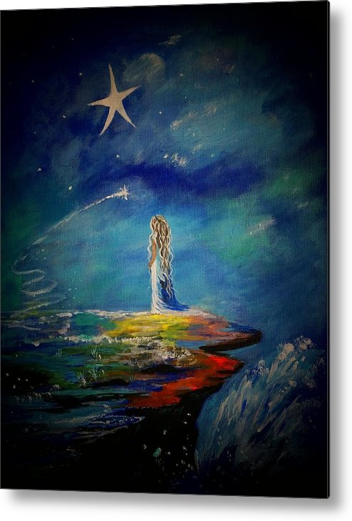 Little Girl Canvas Prints Metal Print featuring the painting Little Wishes One by Leslie Allen