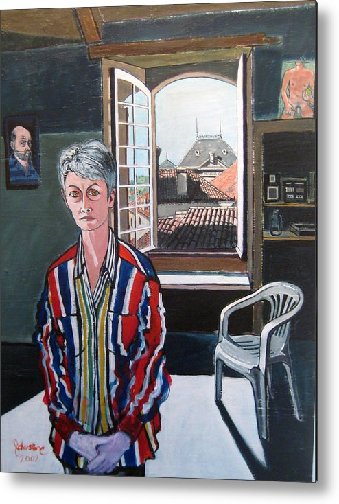 Portrait Metal Print featuring the painting Lynne In My Studio by Ray Johnstone
