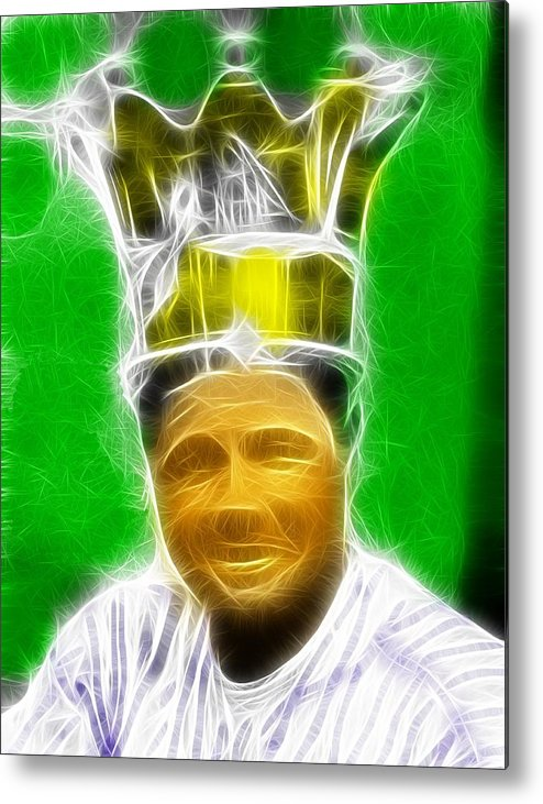 Babe Ruth Metal Print featuring the painting Magical Babe Ruth by Paul Van Scott