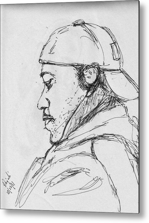 Metal Print featuring the drawing Man With Earphones by Anjali Sarkar