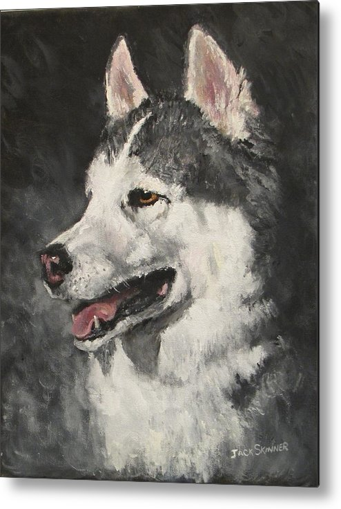 Dog Metal Print featuring the painting Ozzie by Jack Skinner