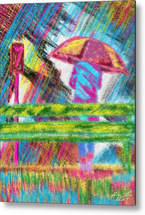 Rainy Day Metal Print featuring the painting Rainy Day by Kenal Louis