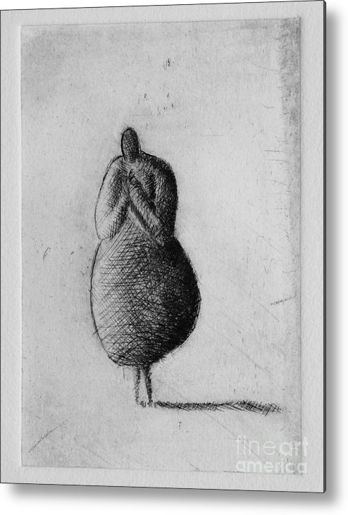 Etching Metal Print featuring the mixed media Silent by Valdas Misevicius