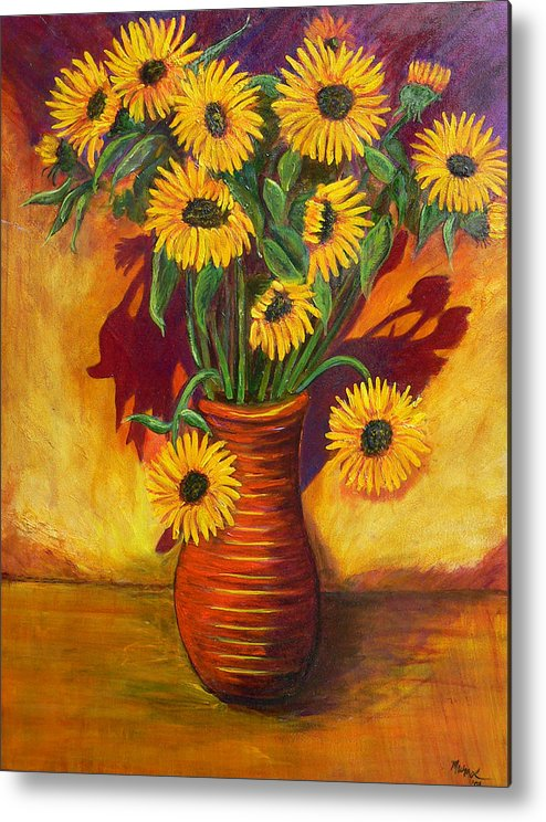 Sunflowers Metal Print featuring the painting Sunflowers by Mark Malone