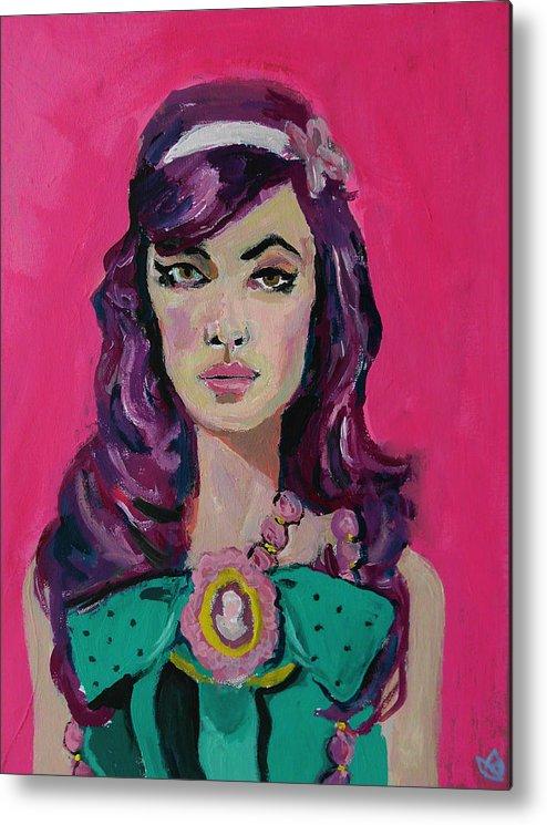 Portrait Metal Print featuring the painting Sweet Like Barbie by Adam Kissel