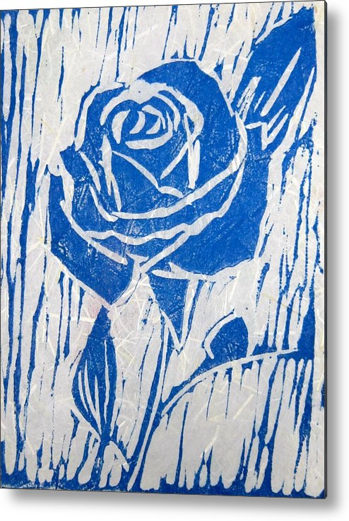 Blue Rose Metal Print featuring the relief The Blue Rose by Marita McVeigh