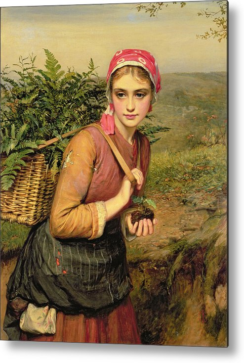 The Fern Gatherer Metal Print featuring the painting The Fern Gatherer by Charles Sillem Lidderdale