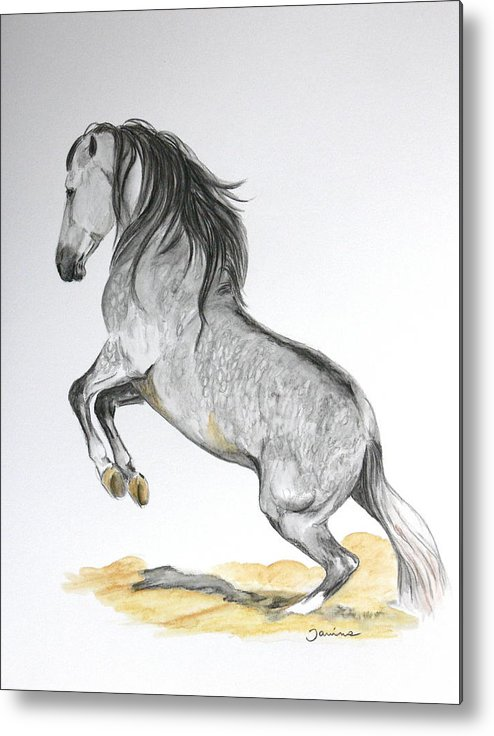 Andalusian Horse Metal Print featuring the painting The Turn by Janina Suuronen