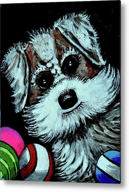 Dog Metal Print featuring the painting Tinker And His Toys by Bob Crawford