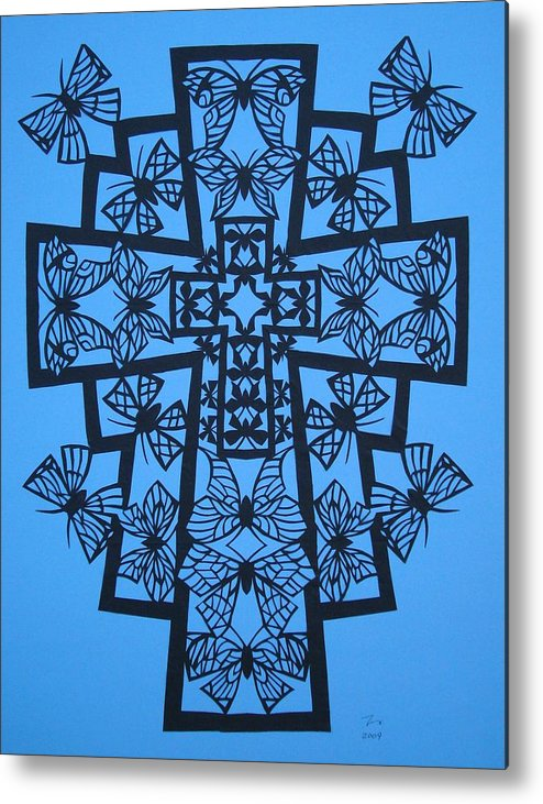 Beliefs Metal Print featuring the mixed media 001 Butterfly-cross by Tong Steinle