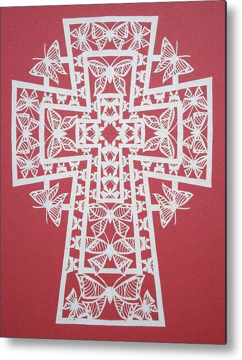 Beliefs Metal Print featuring the mixed media 005 Butterfly-cross by Tong Steinle