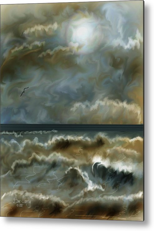 Seascape Metal Print featuring the painting After The Squall by Anne Norskog