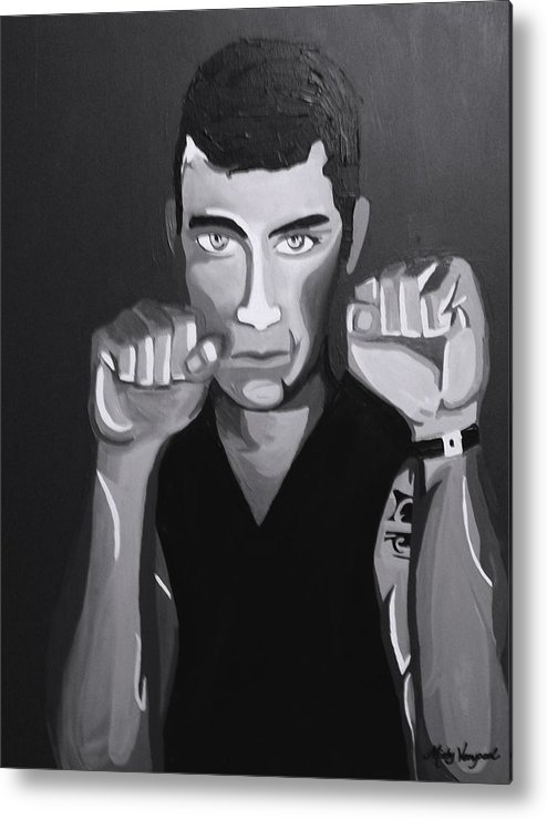 Boxer Metal Print featuring the painting Boxer Monotone by Misty VanPool