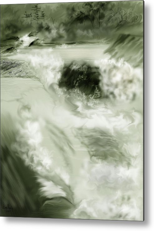 White Water Landscape Metal Print featuring the painting Cherry Creek White Water by Anne Norskog