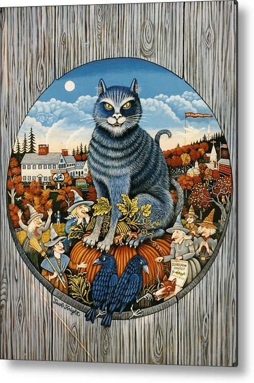 Folk Art Sturbridge Metal Print featuring the painting Harvest Time In Sturbridge by Jacob Knight