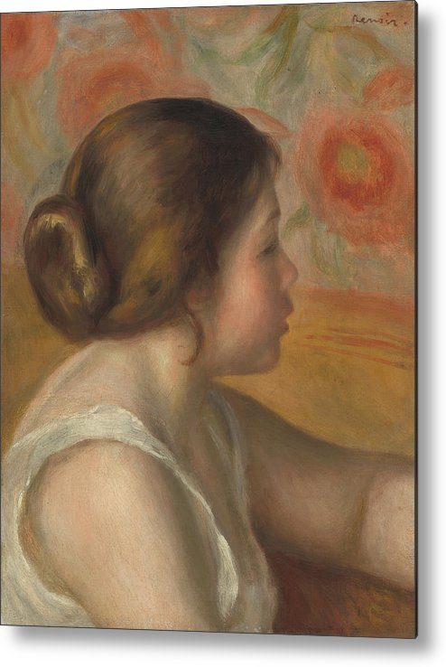 Auguste Renoir Metal Print featuring the painting Head Of A Young Girl by Auguste Renoir