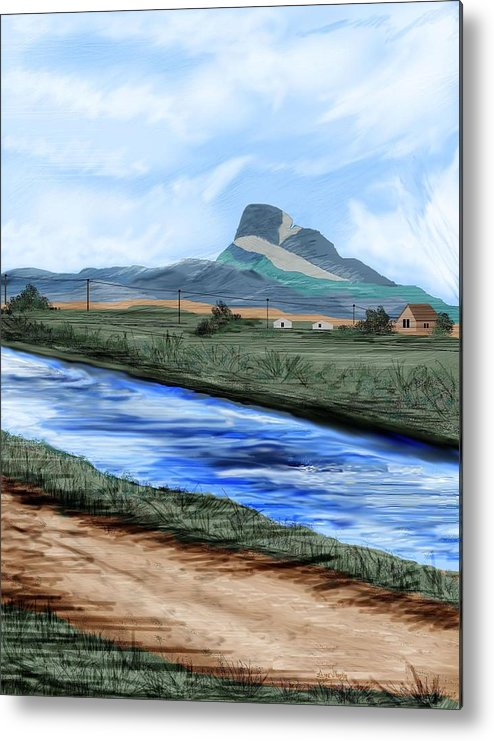Heart Mountain Metal Print featuring the painting Heart Mountain And The Canal by Anne Norskog