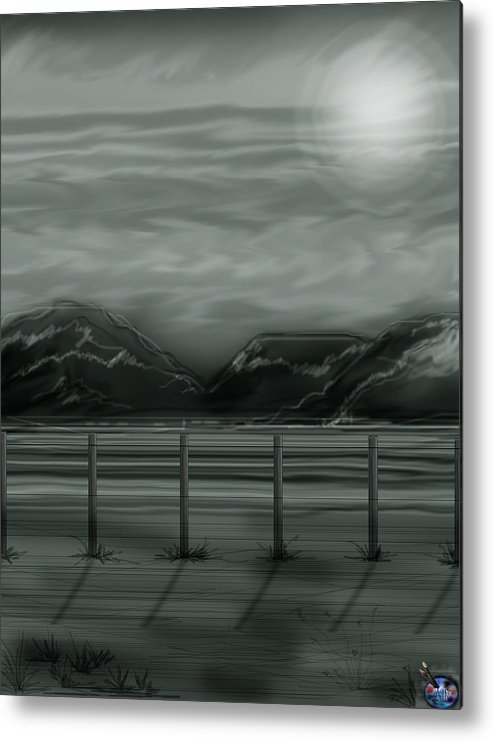 Landscape Metal Print featuring the painting Moon Over The Beartooth by Anne Norskog