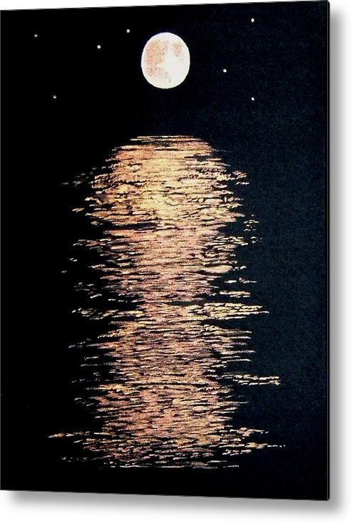 Moon River Stars Night Landscape Black Gold Copper Water Metal Print featuring the painting Moon River by Linda Powell