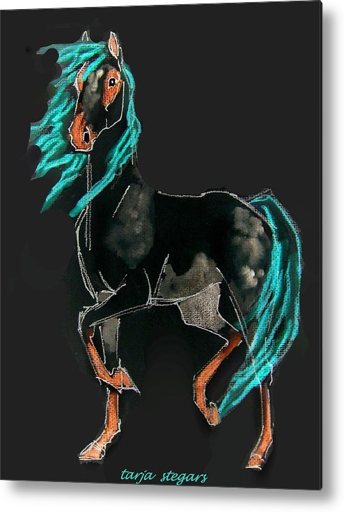 Horse Drawings Metal Print featuring the painting Presence II by Tarja Stegars