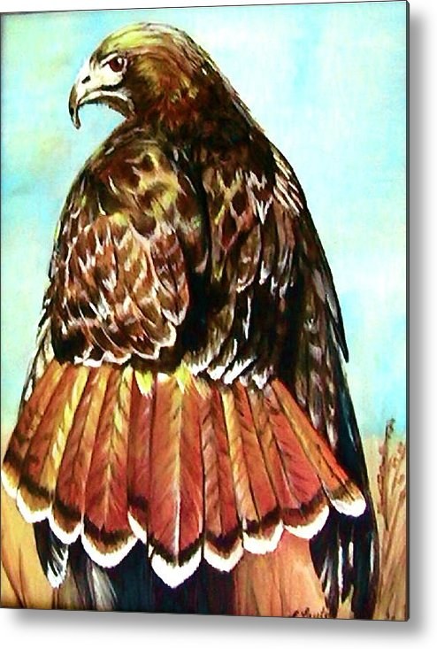 Painting Metal Print featuring the painting Red Tailed Hawk by L Lauter