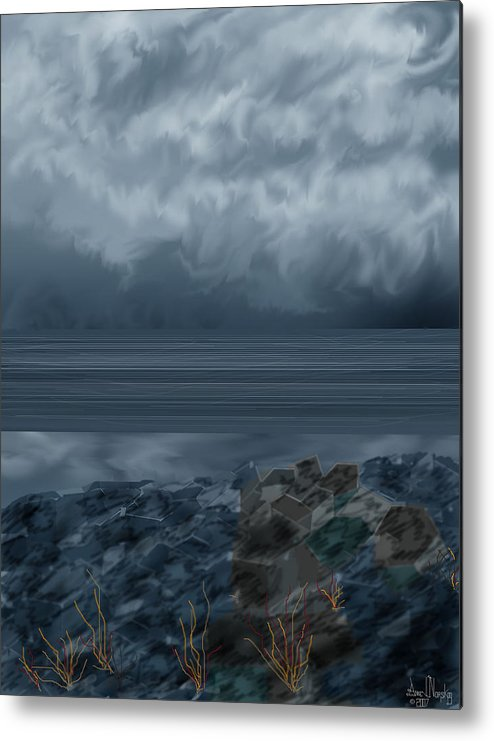 Seascape Metal Print featuring the painting Slack Tide On The Jetty by Anne Norskog