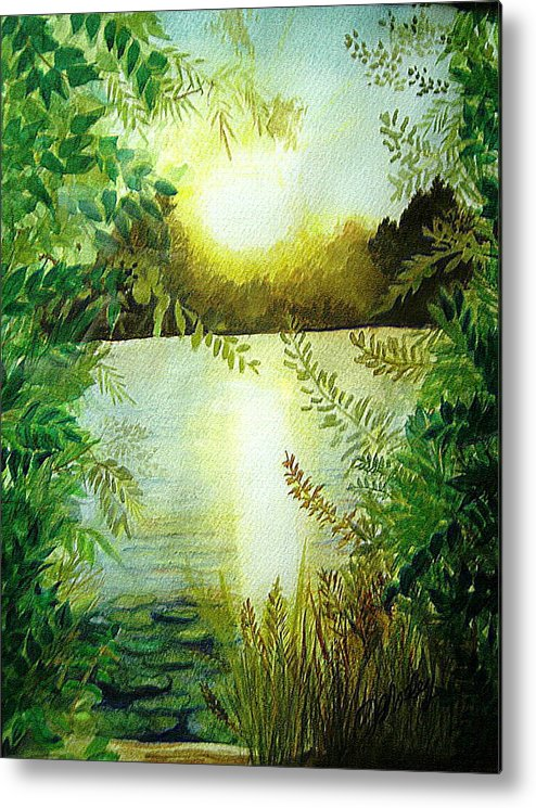 Landscape Metal Print featuring the painting Sunset At Mill Lake by Vivian Mosley