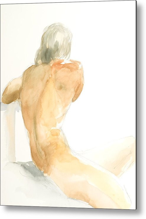 Nude Male Figure Metal Print featuring the painting Nude Series by Eugenia Picado
