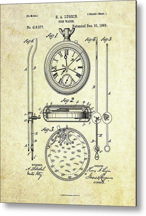 Stop Watch Metal Print featuring the digital art 1889 Stop Watch Patent Art S. 1 by Gary Bodnar