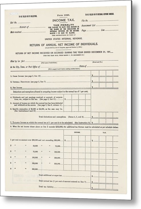 1913 Federal Income Tax 1040 Form The Metal Print By Everett