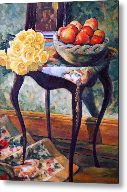 Still Life Metal Print featuring the painting Still Life With Roses by Iliyan Bozhanov