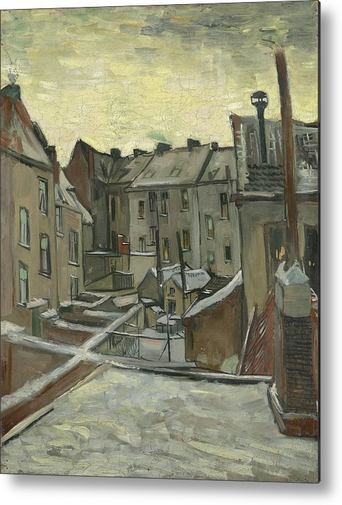 Vincent Van Gogh Metal Print featuring the painting Houses Seen From The Back by Vincent Van Gogh