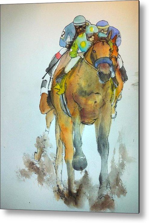 American Pharoah. Winner. Triple Crown. Horserace Metal Print featuring the painting an American Pharoah born album by Debbi Saccomanno Chan