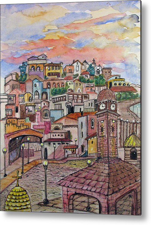 Townscape Metal Print featuring the painting A Little Town In France by Patricia Arroyo