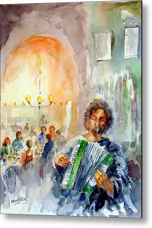Tavern Metal Print featuring the painting A Night At The Tavern by Faruk Koksal