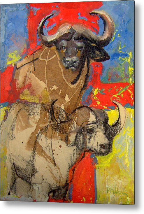 Africa Metal Print featuring the mixed media African Buffalo by Michelle Philip