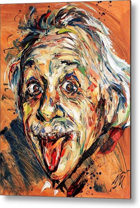 Portrait Metal Print featuring the painting Albert Einstein by Natasha Mylius