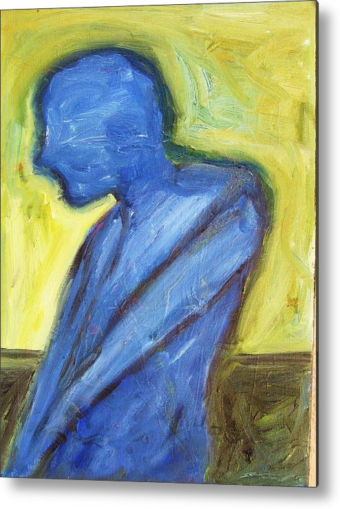 Metal Print featuring the painting Alone by Ron Klotchman