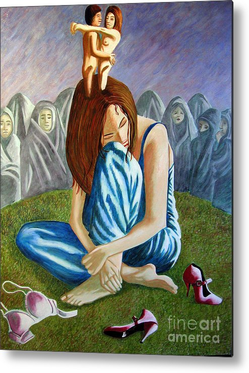 Identity (symbolic Art) Metal Print featuring the painting Am I My Religion My Beliefs by Tanni Koens