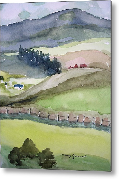 Landscape. Farmland Metal Print featuring the painting America The Beautiful by Nancy Brennand