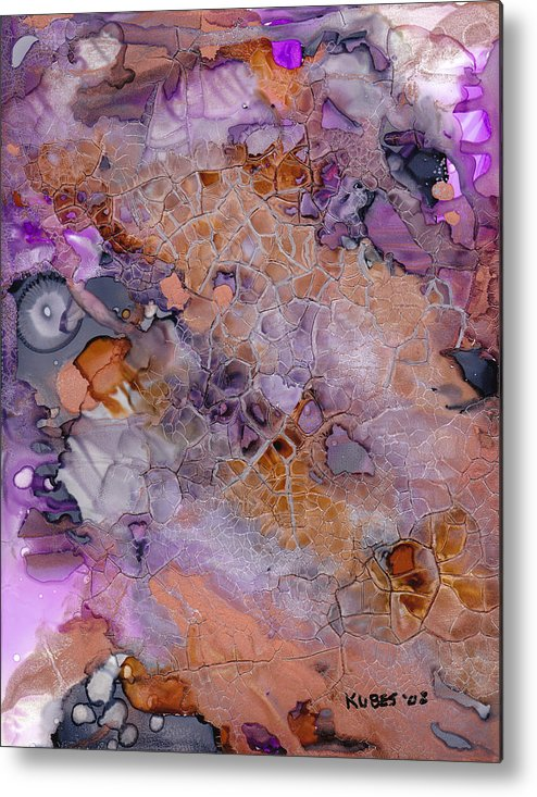 Abstract Metal Print featuring the mixed media Amethyst And Copper by Susan Kubes