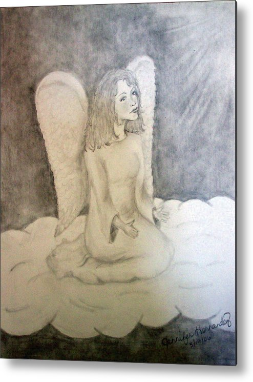 Angel Metal Print featuring the drawing Angel by Jennifer Hernandez