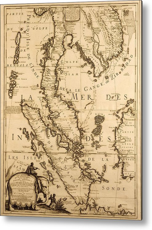 Map Of Asia In French.Antique Map Of South East Asia Metal Print By French School