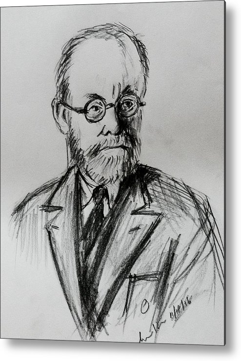 Portrait Matisse Metal Print featuring the drawing Artist Matisse by Hae Kim