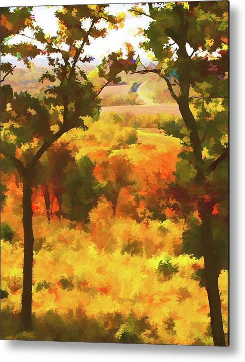 Impressionistic Metal Print featuring the photograph Autumn View, Montelle Winery, Augusta, Missouri by Lila Bahl
