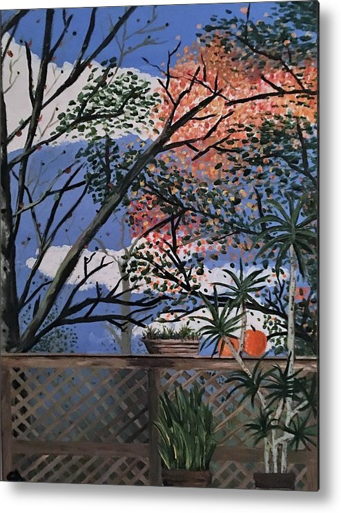 Backyard Scape Metal Print featuring the painting Back Yard by Nani Marie