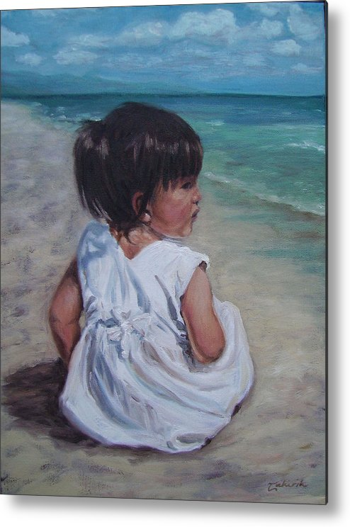 Children Metal Print featuring the painting Beach Baby by Tahirih Goffic