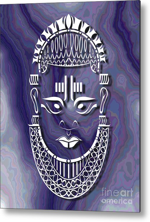 African Sculpture Metal Print featuring the digital art Benin Queen Mother by Walter Oliver Neal