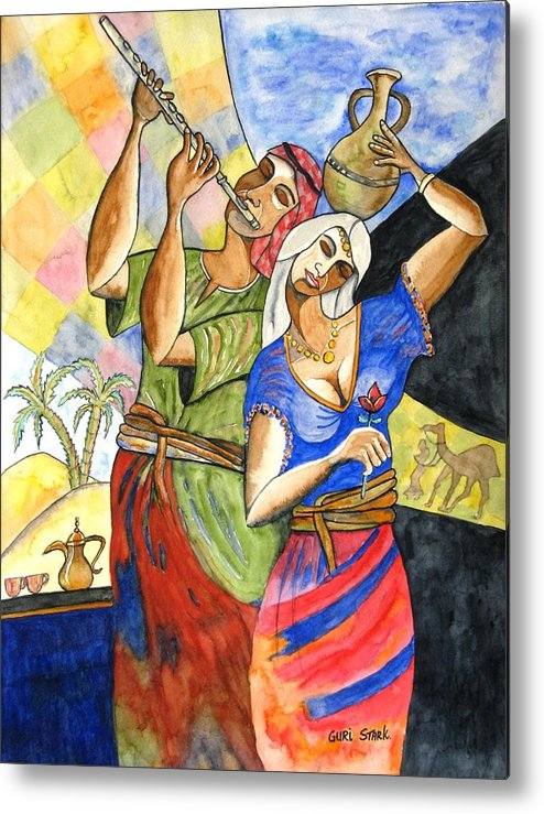 Watercolor Metal Print featuring the painting Biblical Story by Guri Stark