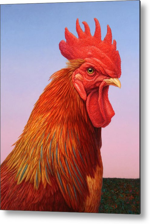 Rooster Metal Print featuring the painting Big Red Rooster by James W Johnson